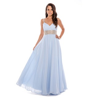 Decode 1.8 Ice-blue Beaded Empire-waist A-line Gown