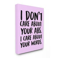 lulusimonSTUDIO I Care About Words Pink and Black Stretched Canvas Wall Art