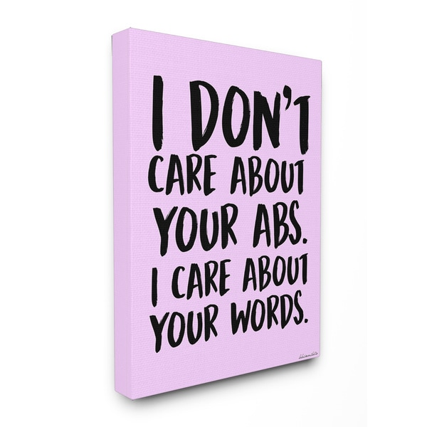 lulusimonSTUDIO I Care About Words Pink and Black Stretched Canvas ...