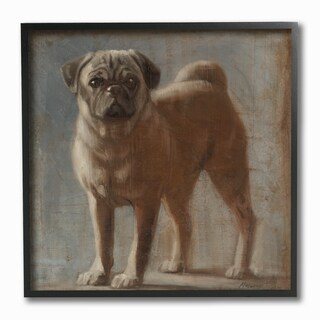 Vintage Pug Framed Giclee Texturized Art