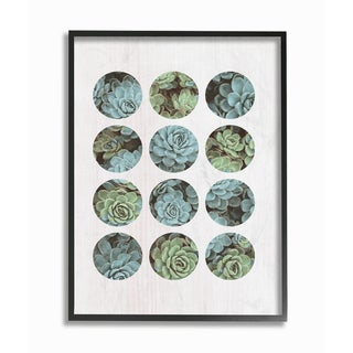 Succulent Circles Framed Giclee Texturized Art