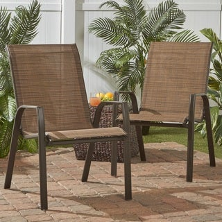 Stackable Steel Outdoor Lounge Chair in Brown (Set of 2)