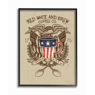 Red White and Brew Coffee Co Framed Giclee Texturized Art