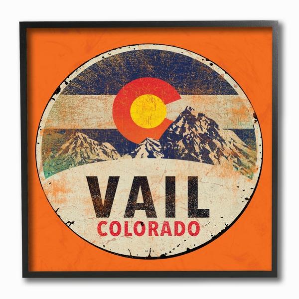 Vail Colorado Vintage Sign Framed Giclee Texturized Art