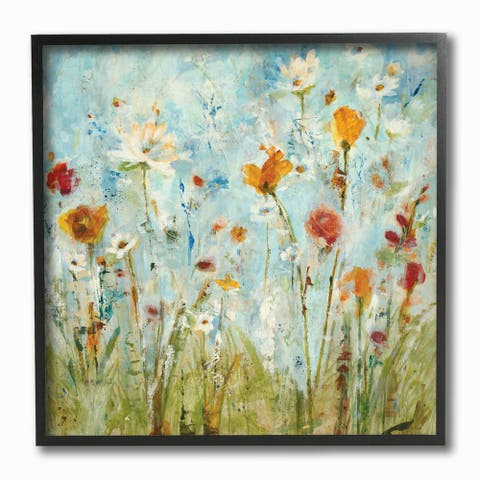 Abstract Summer Wildflowers Framed Giclee Texturized Art