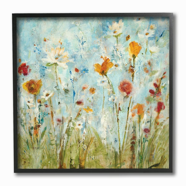 Abstract Summer Wildflowers Framed Giclee Texturized Art. Opens flyout.