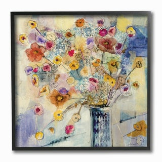Painted Flowers Line Drawing Framed Giclee Texturized Art