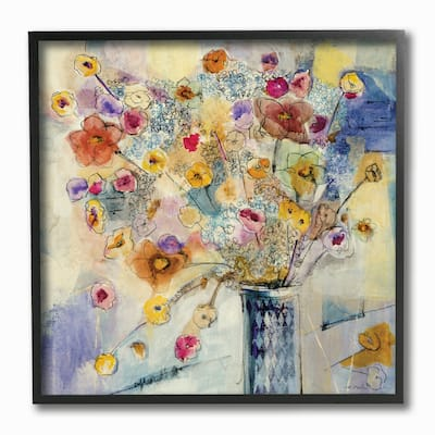 Painted Flowers Line Drawing Framed Giclee Texturized Art - Multi-Color