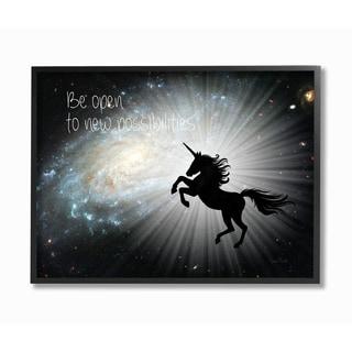 Be Open Unicorn Galaxy Framed Giclee Texturized Art