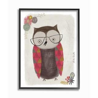 Cute Nerdy Owl Illustration Framed Giclee Texturized Art