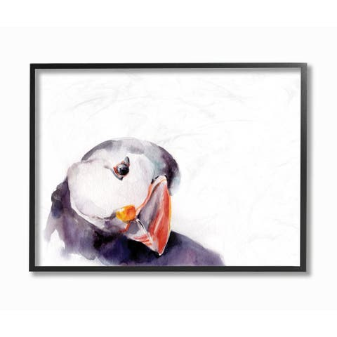 Watercolor Puffin Framed Giclee Texturized Art