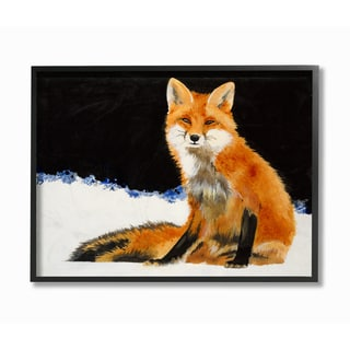 Fox In The Snow Framed Giclee Texturized Art