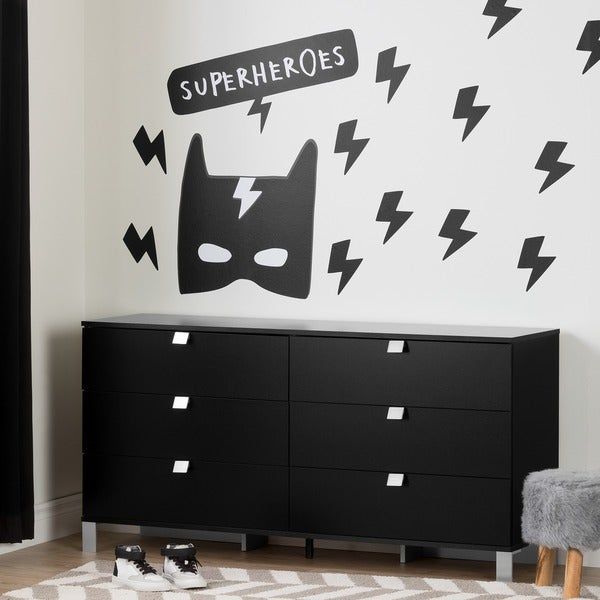shop south shore spark pure black 6 drawer double dresser with