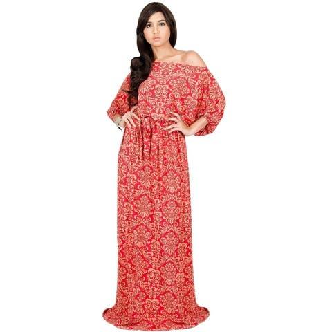 KOH KOH Long One Off Shoulder 3/4 Sleeve Flowy Print Maxi Dress Gown