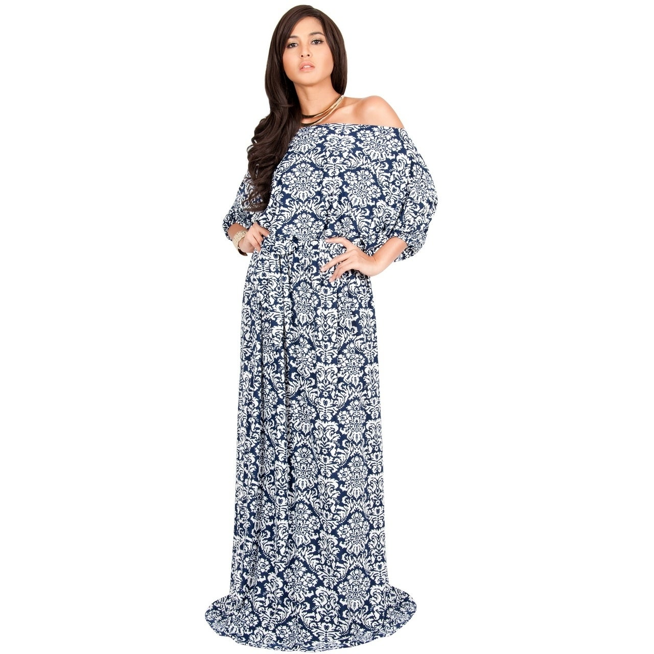 KOH KOH Womens Long One Shoulder Maxi Dress (navy blue an...