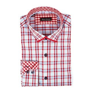 100% Cotton Men's Fashion Shirts Full Sleeve Red Plaid