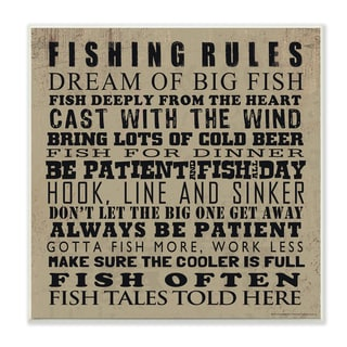 Fishing Rules Typography Wall Plaque Art