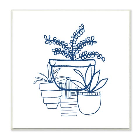 Indigo Succulent Line Drawing Wall Plaque Art