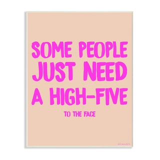 lulusimonSTUDIO High-Five To The Face Humor Typography Wall Plaque Art
