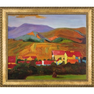 Egon Schiele 'Village with Mountains' Hand Painted Framed Oil Reproduction on Canvas