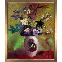 Odilon Redon 'Vase with Japanese Warrior' Hand Painted Framed Oil Reproduction on Canvas