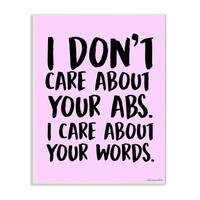 lulusimonSTUDIO I Care About Words Pink and Black Wall Plaque Art