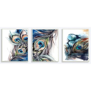 Abstract Peacock Feather 3pc Wall Plaque Art Set