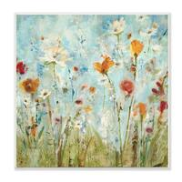 Abstract Summer Wildflowers Wall Plaque Art - 12 x 12