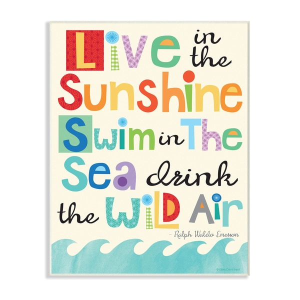 Live In The Sunshine Emerson Quote Wall Plaque Art