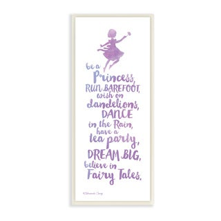 Believe In Fairy Tales Purple Watercolor Typography Wall Plaque Art