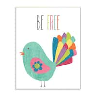 Be Free Colorful Bird Illustration Wall Plaque Art - 10 x 15