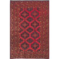 ecarpetgallery Hand-Knotted Finest Rizbaft Blue, Red Wool Rug (6'7 x 10'1)