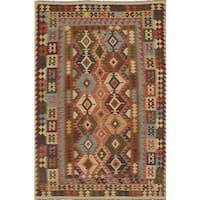 ecarpetgallery Flatweave Sivas Red Wool Kilim Rug - 6'4 x 9'7
