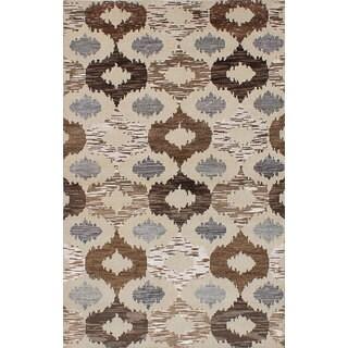 ecarpetgallery Hand-Knotted La Seda Yellow  Wool, Art Silk Rug (5'0 x 7'11)