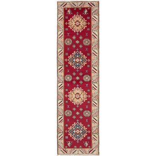 ecarpetgallery Hand-Knotted Royal Kazak Ivory, Red Wool Rug (2'8 x 10'0)