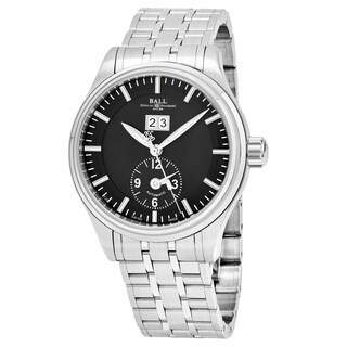 Ball Men's 'Trainmaster' Black Dial Stainless Steel Swiss Automatic Watch