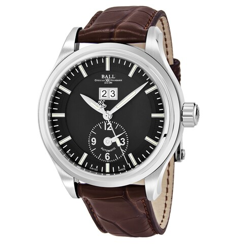 Ball Men's 'Trainmaster' Black Dial Brown Leather Strap Swiss Automatic Watch