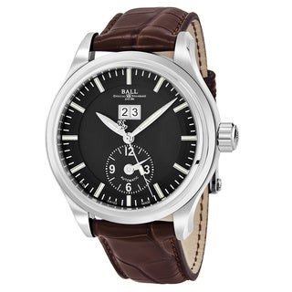 Ball Men's GM1056D-L2FJ-BK 'Trainmaster' Black Dial Brown Leather Strap Swiss Automatic Watch