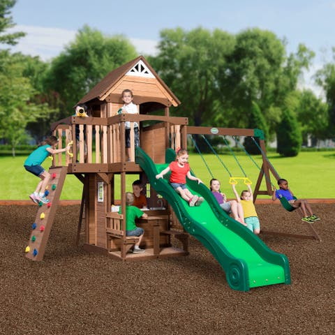 "Backyard Discovery Mount Triumph All Cedar Swingset - 15'8""w x 15'3""d x 9'11""h/15'3 x 15'6 x 9'9"