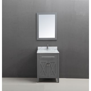 30 inch Belvedere Traditional Freestanding Grey Bathroom Vanity w/ marble top