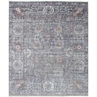 ecarpetgallery Hand-Knotted Jules Ushak Grey Bamboo Silk Rug (8'0 x 9'8)