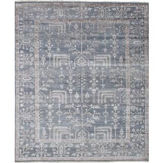 ecarpetgallery Hand-Knotted Jules Ushak Grey Bamboo Silk Rug (8'3 x 9'11)