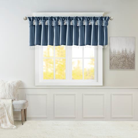 """Madison Park Natalie Lightweight Faux Silk Valance with Beads - 50x26"""""""