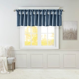 Madison Park Natalie Lightweight Faux Silk Valance with Beads - 50x26""