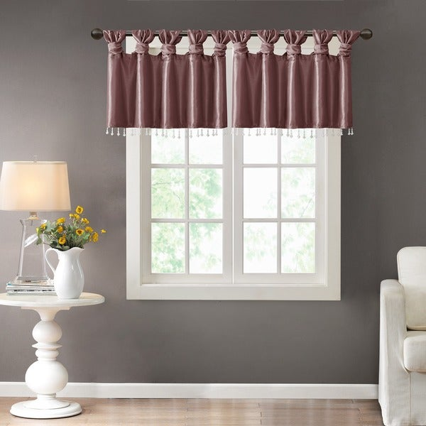 Madison Park Natalie Twisted Tab Valance With Beads