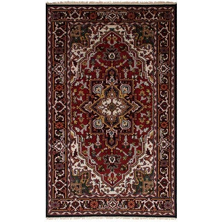 ecarpetgallery Hand-Knotted Royal Heriz Red Wool Rug (4'9 x 8'1)