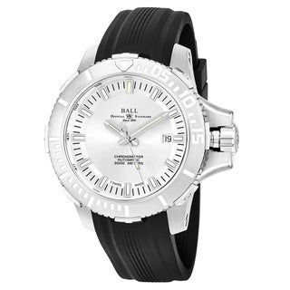 Ball Men's DM3000A-PCJ-SL 'Engineer Hydrocarbon' Silver Dial Black Rubber Strap Swiss Automatic Watch
