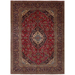 ecarpetgallery Hand-Knotted Kashan Red Wool Rug (8'4 x 11'6)