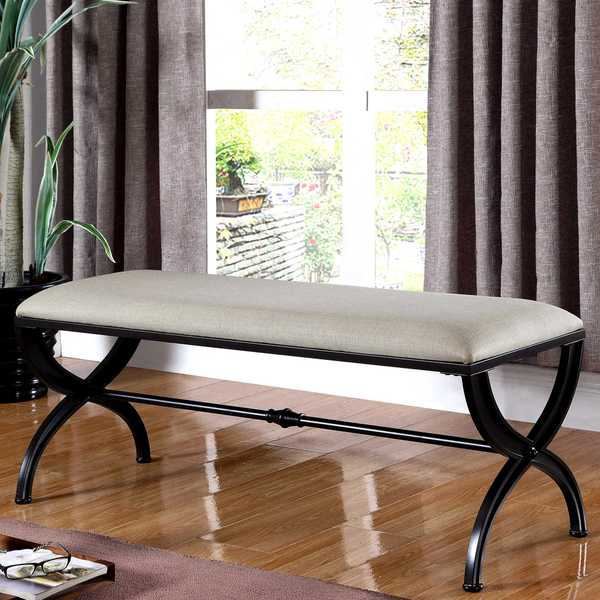 Living Room Black Wood Classic Design Accent Bench With Beige Fabric Cushion
