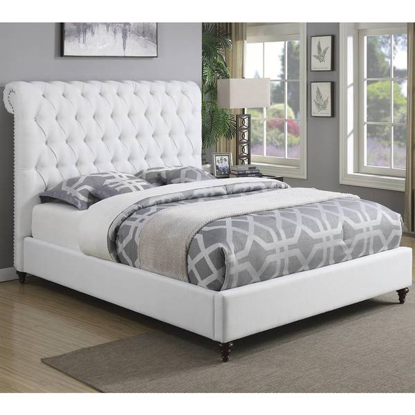 Shop Modern Design Upholstered Bed With Diamond Button